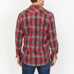 Miguel Checkered Button Up // Red + Black (X-Large)