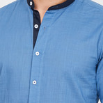Nicola Martin Collard Button Up // Blue (Small)