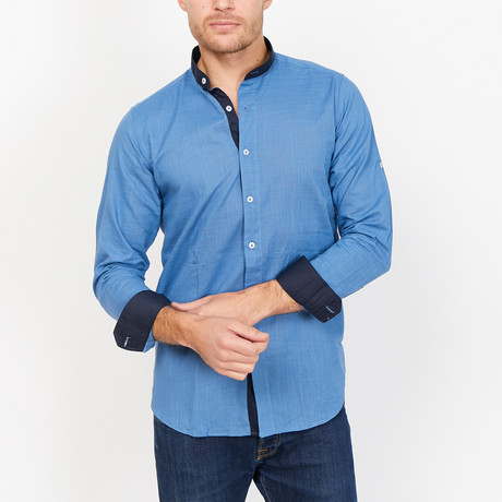 Nicola Martin Collard Button Up // Blue (Small)