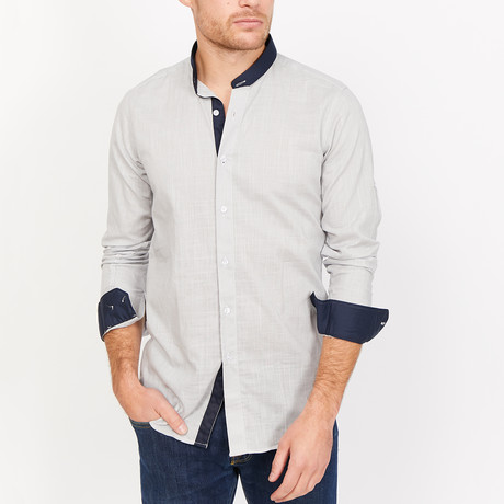 St. Lynn // Sebastian Collar Button Up // Light Gray + White (Medium)
