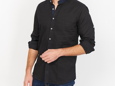 Photo of St. Lynn Organic Cotton Button Ups Dominic Collar Button Up // Black (Small) by Touch Of Modern