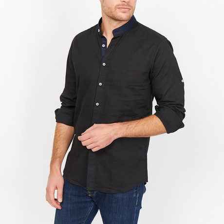 Dominic Collar Button Up // Black (X-Large)