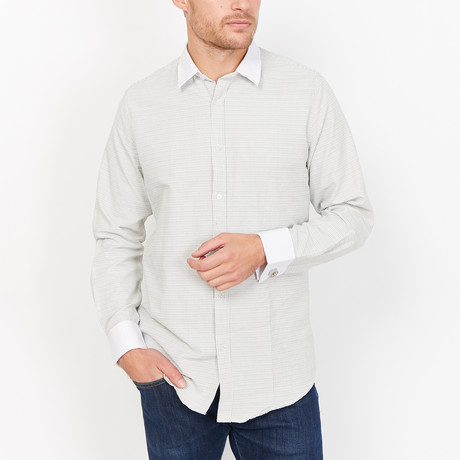 St. Lynn // Harvey French Cuff Button Up // Gray + White (Small)