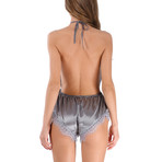 Satin Halter Bodysuit // Gray (L)