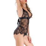 See-Through Lace Nightwear Dress // 2-Piece Set // Black (M)