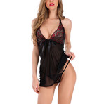 Rose Embroidery Transparent Chemise // 2-Piece Set // Black (M)