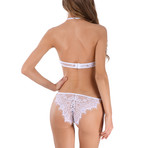 Transparent Femme Bra + Panty // 2 Piece Set // White (3XL)