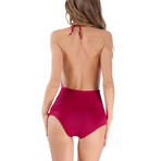 Lace Applique Backless Bodysuit // Red (S)