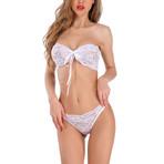 Western Style Bra + Panty Set // White (XL)
