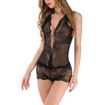 Transparent Deep V-Neck Lace Teddy // Black (XL)