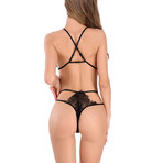 Transparent Lace Bra + Panty Set // Black (2XL)