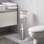 EasyStore ButlerPlus Standing Toilet Paper Holder + Flex Steel Toilet Brush