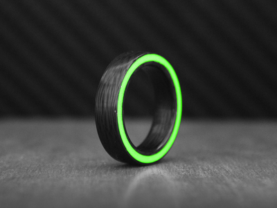 Photo of CLEARANCE: Accessories Curated Accoutrements Emerald Gateway Carbon Fiber Ring // Green + Black (14) by Touch Of Modern