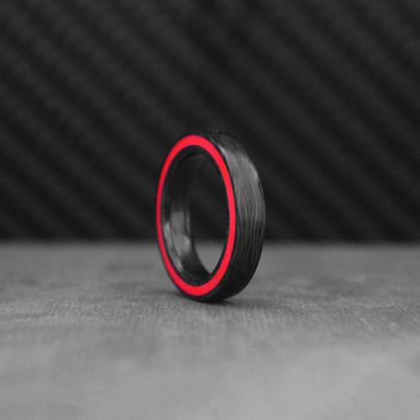 Fire Gateway Carbon Fiber Ring // Red + Black (Size: 10)