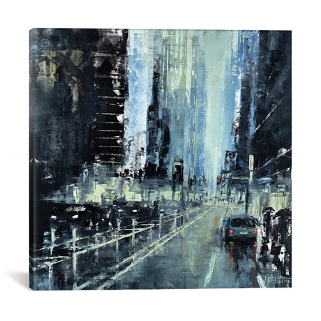 """Blue Afternoon in NYC // Martin Koester (18""""W x 18""""H x 0.75""""D)"""