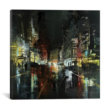 """NYC Night with Rain II // Martin Koester (18""""W x 18""""H x 0.75""""D)"""