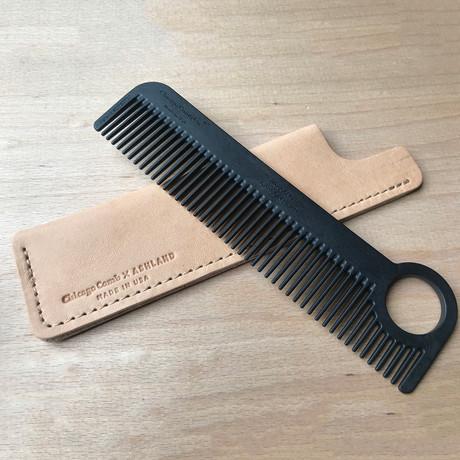 Model No. 1 Carbon Fiber Comb + Horween Leather Case (Dublin Black)