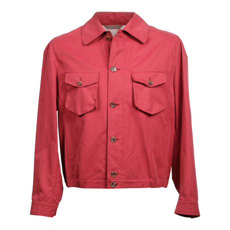 Solid Button-Up Jacket // Red (XS)