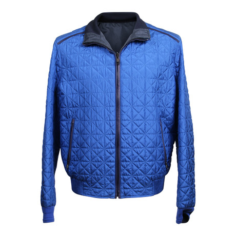 Quilted Baseball Style Jacket // Cobalt Blue (XS)