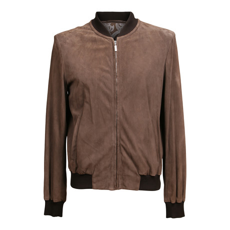 Suede Baseball Jacket // Brown (XS)