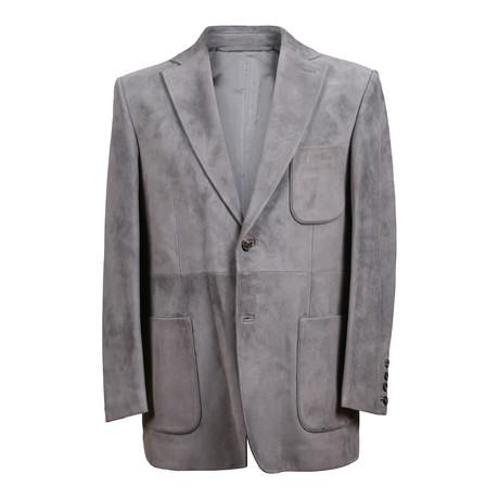 Suede Blazer Overcoat // Gray (XS)