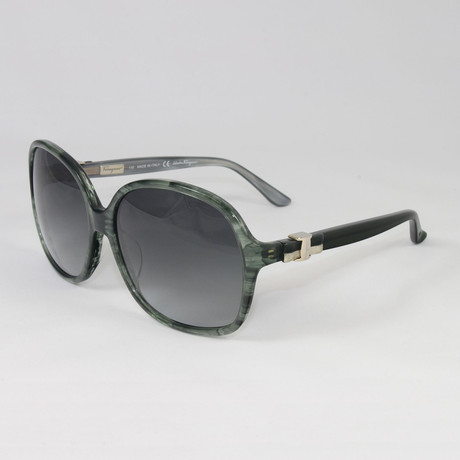 Women's SF646S-322 Sunglasses // Striped Green