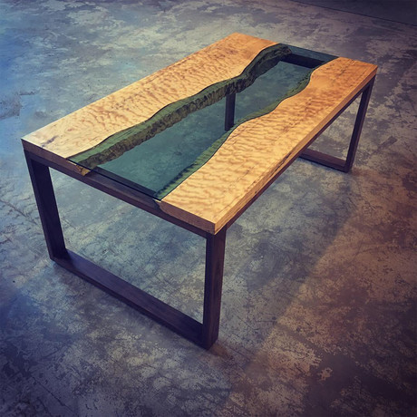 River Series Coffee Table // Musical Grade Big Leaf Maple + Walnut + Green Glass