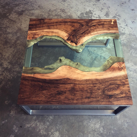 River Series Square Coffee Table // Black Walnut + Green Glass + Steel