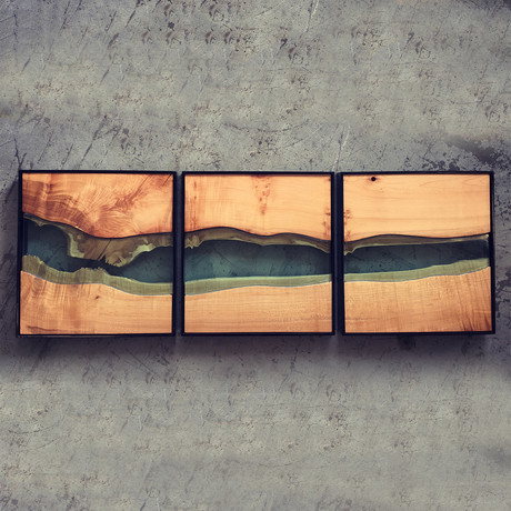 River Series Triptych // Big Leaf Maple + Green Glass // Black Frame