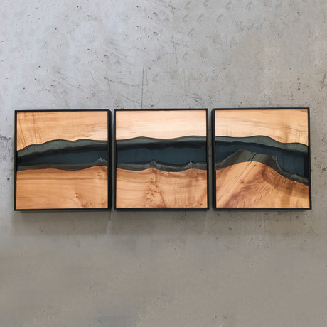 River Series Triptych // Big Leaf Maple + Blue Glass // Black Frame
