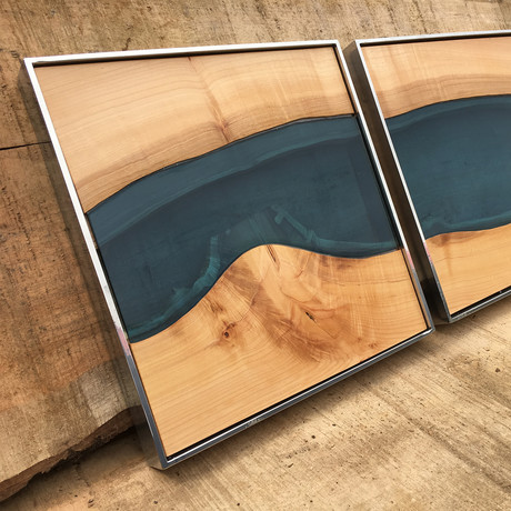 River Series Triptych // Big Leaf Maple + Blue Glass // Satin Gray Frame