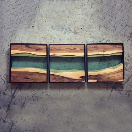 River Series Triptych // Black Walnut + Green Glass // Black Frame