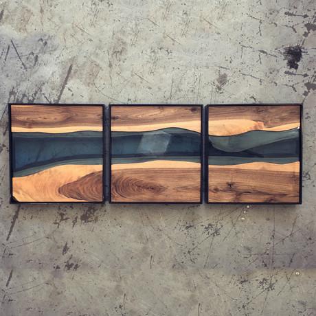 River Series Triptych // Black Walnut + Blue Glass // Black Frame