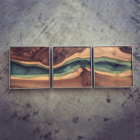 River Series Triptych // Black Walnut + Green Glass // Gray Frame