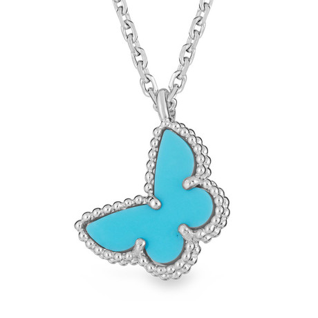Vintage Van Cleef & Arpels 18k White Gold + Turquoise Butterfly Necklace