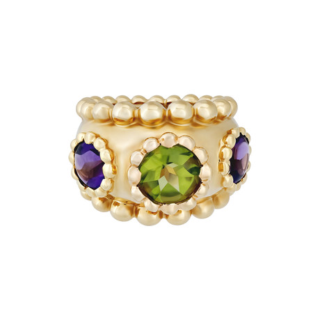 Vintage Chanel 18k Yellow Gold Purple Amethyst + Green Peridot Ring // Ring Size: 5.5