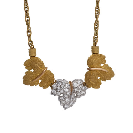"Vintage Mario Buccellati 18k Yellow Gold + 18k White Gold Diamond Necklace // Chain: 16"" // 0.38 ct."