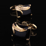 Exclusive Cufflinks + Gift Box // Gold + Black Squares