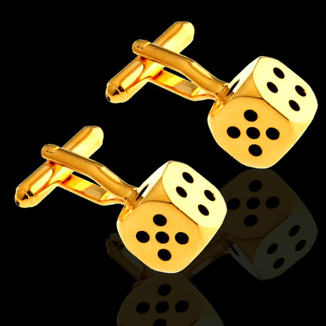 Exclusive Cufflinks + Gift Box // Gold Dice