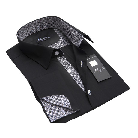 Reversible Cuff French Cuff Shirt // Black + Checkers (S)