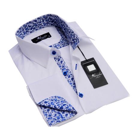 Reversible Cuff French Cuff Shirt // White + Blue Paisley (S)