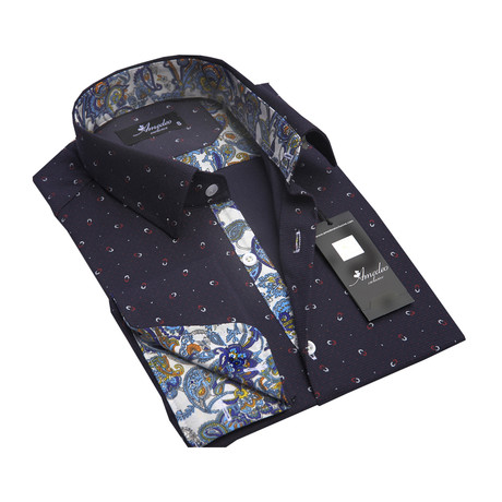 Reversible Cuff French Cuff Shirt // Navy Blue Paisley (S)