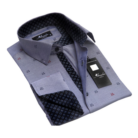 Reversible Cuff French Cuff Shirt // Grey + Checkers (S)