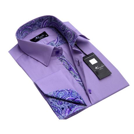 Reversible Cuff French Cuff Shirt // Light Purple Paisley (S)