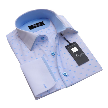 Reversible Cuff French Cuff Shirt // White + Light Blue (S)