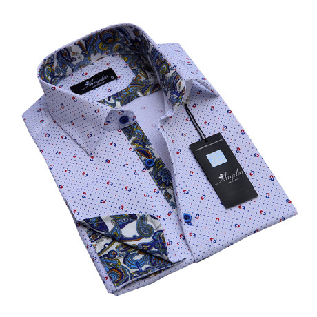 Reversible Cuff French Cuff Shirt // White + Grey + Colorful Paisley (S)