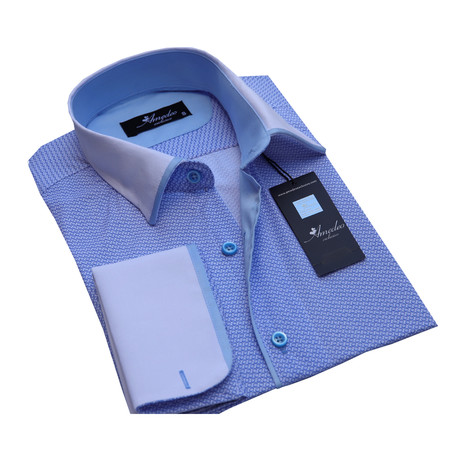 Amedeo Exclusive // Reversible Cuff French Cuff Shirt // Blue Circles (S)