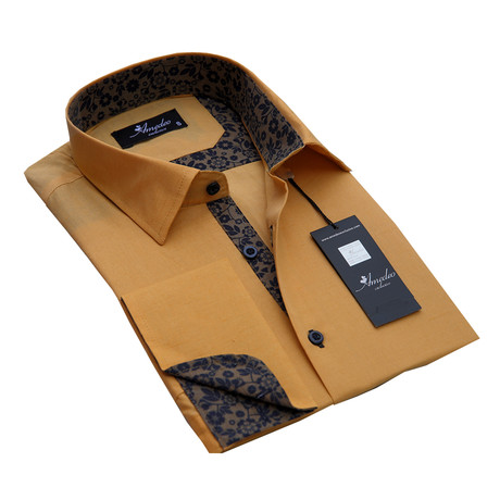 Reversible Cuff French Cuff Shirt // Solid Tan + Brown Floral (S)