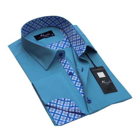 Reversible Cuff French Cuff Shirt // Turquoise Blue + Checkered (S)
