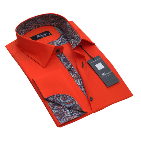 Reversible Cuff French Cuff Shirt // Neon Orange + Paisley (S)